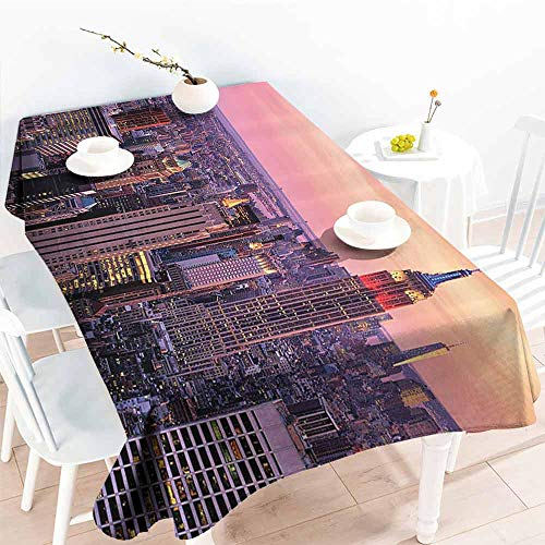 GOMAE Creative Rectangle Tablecloth New York New York City Midtown with Empire State Building at Sunset Business Center Rooftop Photo Peach Buffet,Parties,Holiday Dinner,Picnic 54x90 (World Trade Center Woman In The Hole)