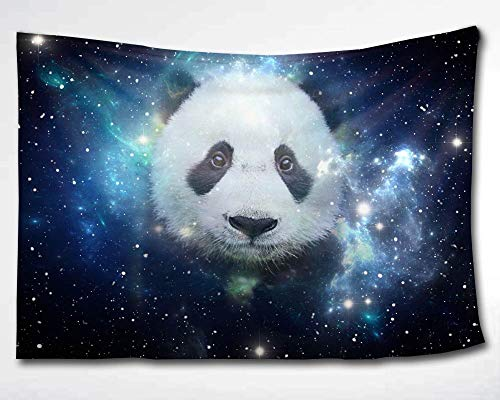 HMWR Cute Space Panda Tapestry Wall Hanging Magical Universe Galaxy Planets Sky Space Bling Stars Tapestry Collage Dorm Beach Throw Wall Decor 60 X 90 Inches,Blue