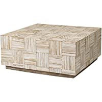 East at Main Ashford Off-White Teakwood Square Coffee Table, (35x35x16)
