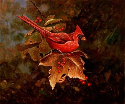 Oil Painting 'Finch In Autumn', 24 x 29 inch / 61 x 73 cm , on High Definition HD canvas prints is for Gifts And Bar, Dining Room And Living Room Decoration, best quality