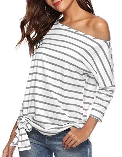 Defal Womens Sexy Oblique Off Shoulder 3/4 Sleeve Colorful Striped Tunic T-Shirt Casual Loose Tie Front Blouse Top (XL, Grey)