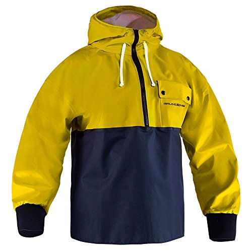 Grundens P762 Petrus Hooded Pullover, Yellow/Navy - S