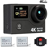 VVHOOY VT900 4K WIFI Sports Action Camera Ultra HD Waterproof DV Camcorder 12MP 170 Degree Wide Angle Dual Screen with Remote Control and Mounting Accessories