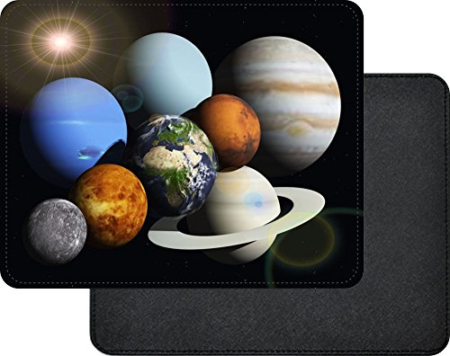 Rikki Knight Solar System Planets Design Faux Leather Rectangular Mouse Pad by Rikki Knight