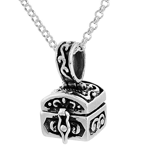 Sterling Silver Prayer Box Necklace Chest Shaped Floral Design, 3/8 inch 16 inch Chain (Shaped Prayer Box)