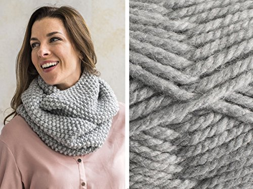 Craftsy Sprightly Quick and Easy Seed Stitch Scarf or Cowl Knitting Kit (Grey Heather)