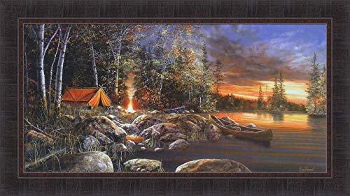 Twilight Fire by Jim Hansel 21x37 Tent Canoe Camping Lake Sunset Framed Art Print Wall Décor Picture ()