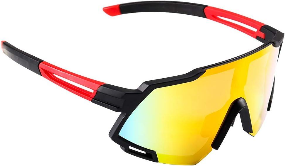 Gafas de Sol Deportivas,CrazyFire Pantalla Grande Ciclismo Gafas Deportivas UV 400 Protección Gafas Deportivas Polarizadas con 5 Set De Lentes Intercambiables para Ciclismo, béisbol, Pesca, esquí