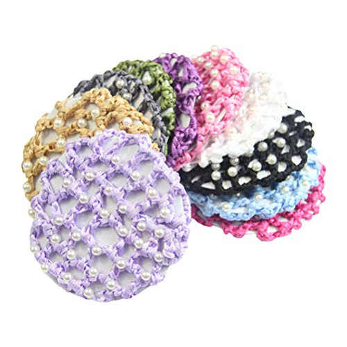 (Lurrose 5pcs Elastic Thick Hair Snood Net with Pearls Decor Colorful Hair Bun Cover for Dance)