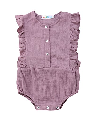 Urkutoba Infant Girls Clothes Baby Girl Ruffles Romper Lace Sleeveless Outfit Grey Bodysuit Clothes (Purple, 90/12-18 Months)