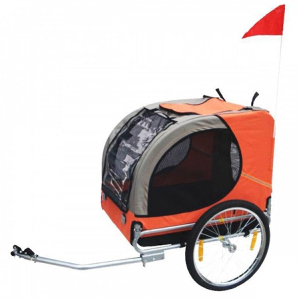 vidaXL Orange Folding Pet Bicycle Cycling Trailer Dog Cat Bike Carrier w/Drawbar Hitch