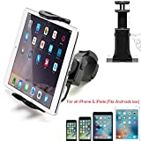 AccessoryBasics Universal Smartphone Tablet iPad iPhone Indoor Spin Cycle Treadmill Exercise Bike Handle Bar Mount Holder for iPhone 11 XS XR X 8 Plus ipad Mini Air Pro Galaxy S10 5-12' Screen Device