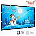 Ylife Projector Screen, 16:9 HD 4K No Crease Portable Projector Movie Screen Grommets for Home Theater Outdoor