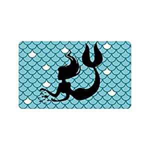 Xinzuo entrada Felpudo, diseño de sirena peces escalas para interiores Felpudo antideslizante Felpudo 18por 30pulgadas Máquina lavable tela no tejida