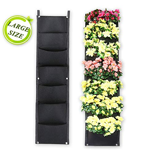 X XBEN Vertical Wall Hanging Planters, 7 Pockets Indoor Outdoor Large Grow Bags for Balcony Garden Yard Office Home Decoration