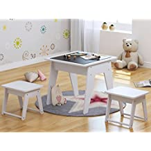 UTEX Kids 3pcs Wooden Table and 2 Stools/Chairs Set, Chalkboard Table for Child Drawing/Painting/Reading/Study or Group Play, White
