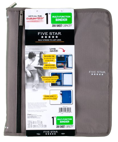 Five Star Customizable Binder with Removable Fixture, 1-Inch, Gray (72987)