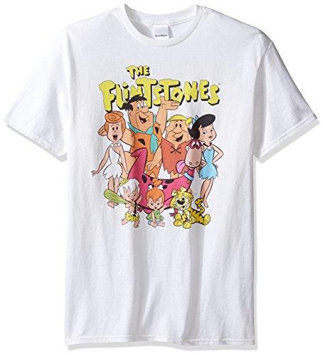 (The Flintstones Men's Cast T-Shirt, White)
