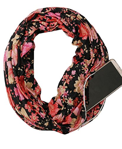 Zipper Pocket Women Infinity Scarf – USAstyle 2018 New Floral Scarf Spring Summer, Stretchy Soft Lightweight Jersey, Reach CP65 Standard , 30-Day (Scarf Pocket)