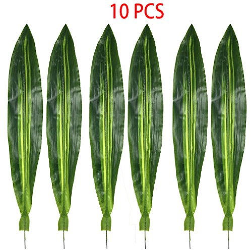 Warmter 10 PCS Fake Faux Artificial Tropical Leaves Green Single Leaf for Home Kitchen Party Decorations (Dark green) by Warmter