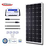 KOMAES 100 Watts 12Volts Monocrystalline Solar Panel With Energy-efficient Tech Kit Includes 30Amp PWM Solar Charge Controller, 20ft Tray Cable, 20ft MC4 Cable, Mounting Z Brackets