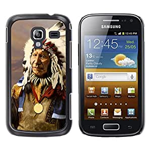 KOKO CASE / Samsung Galaxy Ace 2 I8160 Ace II X S7560M / indio nativo americano viejo hombre plumas / Delgado Negro Plástico caso cubierta Shell Armor Funda Case Cover