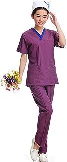 QZHE Abbigliamento medico Set di Abbigliamento da Lavoro A Manica Corta con Scollo A V, Completo di Indumenti da Lavoro