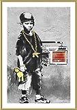 Alonline Art - Boy with Dance Mat Banksy Gold Framed Poster (Print on 100% Cotton Canvas on Foam Board) - Ready to Hang | 16''x23'' | Frame Framed Paints Framed Wall Art for Bedroom Framed Print Giclee