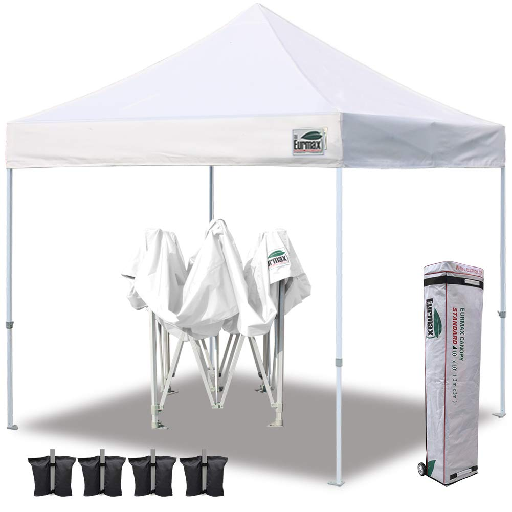 Eurmax 10'x10' Ez Pop Up Canopy Tent Commercial Shelter with Heavy Duty Roller Bag,Bonus 4 Canopy Sand Bags (White)