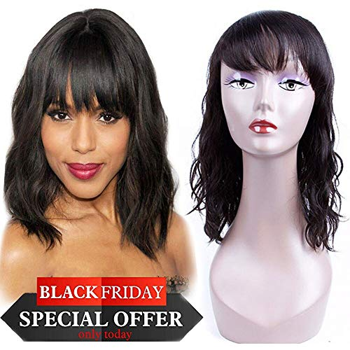 Body Wave Wigs with Hair Bangs Bob Wigs 100% Unprocessed Brazilian Human Hair Wigs, Natural Short 130% Density Wigs For Black Women (10 inch)