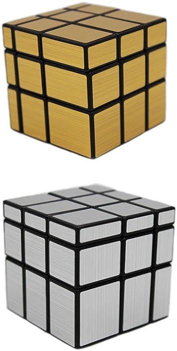 MEISHINE® 2 Pack Mágico Cubo Silver Mirror Cube + Golden Mirror Cube Cubo Mágico Inteligencia Mágico Cubo de la Velocidad Juego de Puzzle Cube Speed Magic Cube: Amazon.es: Juguetes y juegos