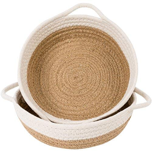 Goodpick 2pack Cotton Rope Basket - Woven Storage Basket - 9.8'' x 8.7'' x 2.8'' Small Rope Baskets for Kids Home Decor Toy Basket Organizer - Desk Basket Containers for Jewellery, Keys - Hemp Rope Bowl by Goodpick