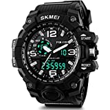 Men's Sport Watch, Aposon Military Wrist watch Large Dual Dial Analog Digital Quartz Watches Electronic Malfunction Two Timezone Back Light Water Resistant Calendar Day Date - Black
