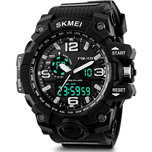 Aposon Men's Sport Watch Large Dual Dial Analog Digital Quartz Watches Electronic Malfunction Two Timezone 24H Military Wrist watch Time Casual Back Light Water Resistant Calendar Day Date - Black