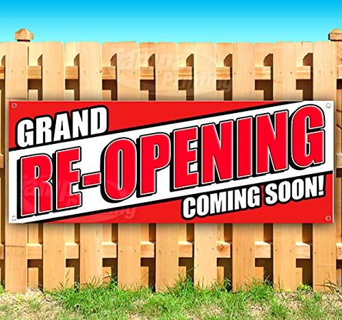 Grand RE-Opening Coming Soon! 13 oz Heavy Duty Vinyl Banner Sign with Metal Grommets, New, Store, Advertising, Flag, (Many Sizes Available)