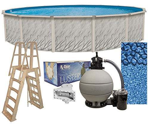 Meadows 27-Foot-by-52-Inch Round Above-Ground Swimming Pool Complete Bundle Kit | Boulder Swirl Pattern Overlap Liner | A-Frame Ladder System | Filter Tank | 1-HP Pump | Wide-Mouth Skimmer (Complete Pool Swimming)
