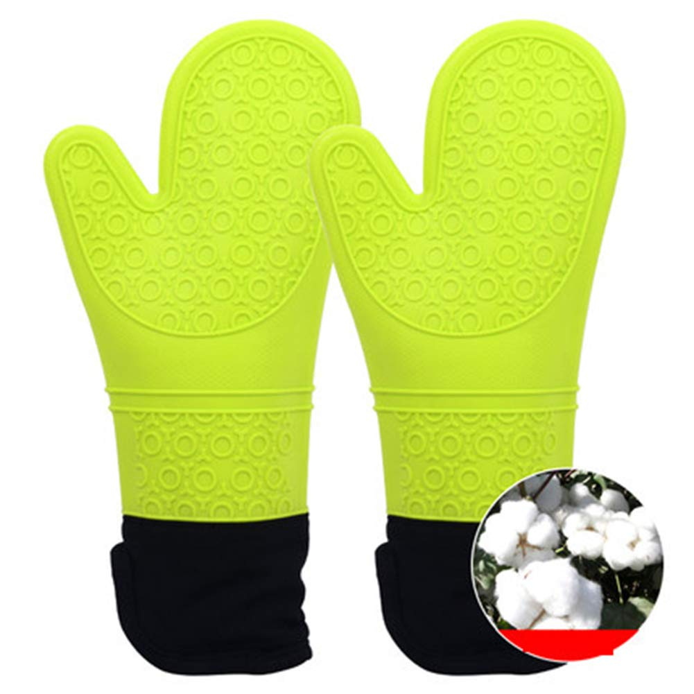 PsgWXL BBQ Gloves Thick Silicone Microwave Oven Insulation Gloves Oven Heat-Proof Five-Finger Baking Anti-hot Fried Splash Gloves