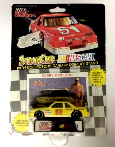 Nascar Stock (NASCAR #68 Bobby Hamilton Country Time Racing Team Stock Car With Driver's Collectors Card And Display Stand. Racing Champions Black Background Red Series 51 Car)