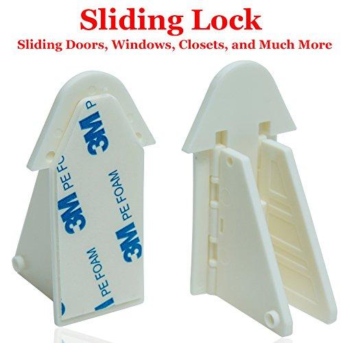 Sliding Door Lock Keyless for Child/Baby Safety Proofing Windows, Closets, Showers, Pools, Patios, and Sliding Doors - Childproof Safety Locks by All4Baby plus BONUS Sliding Door Wave Medicine Cabinet