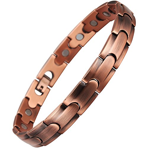VITEROU Womens Magnetic Solid Pure Copper Therapy Bracelet with Strong Healing Magnets for Arthritis Pain Relief and Carpal Tunnel,3500 Gauss ()