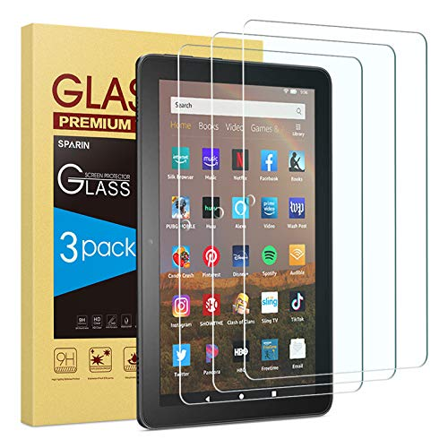 SPARIN 3 Pack Tempered Glass Screen Protector for Fire HD 8/Fire HD 8 Plus/Fire HD 8 Kids 2020 Released