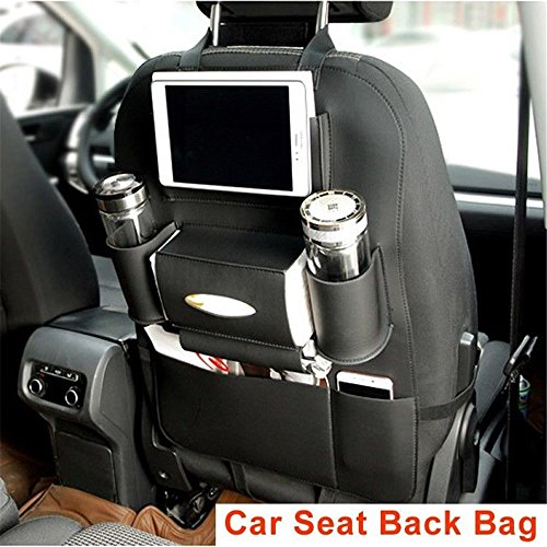 Pu Leather Car Seat Back Organizer Cup Phone Holder Multi-Pocket Travel Storage Bag for Cars SUVs Trucks Vans Black