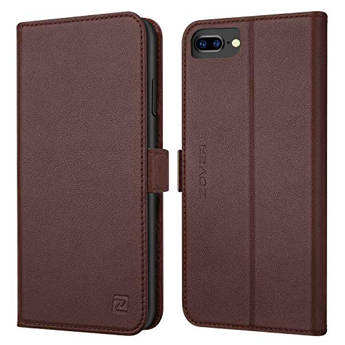 iPhone 8 Plus case iPhone 7 Plus case ZOVER Genuine Leather Case Wallet Cover with Kickstand Feature Card Slots & ID Holder and Magnetic Closure for iPhone 7 Plus iPhone 8 Plus Dark Brown