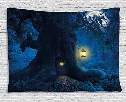 Ambesonne Forest Tapestry, Magical Night with Home in Trunk of Ancient Enchanted Tree, Wall Hanging for Bedroom Living Room Dorm, 80 W X 60 L Inches, Dark Night Blue Mustard Azure Blue