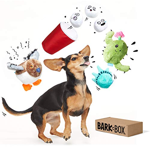 BarkBox Best of Box Plush Toy Bundle for Medium Dogs, 2-in-1 Squeak and Chew Toys for Long-Lasting Playtime – Great Gift