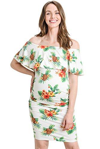 f7ae8f89584 Hello MIZ Women s Floral Ruffle Off Shoulder Maternity Dress - Made in USA.