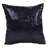 Start New Glitter Sequins Pillow Case Cafe Home Decor Cushion Covers (40cm40cm, Black)
