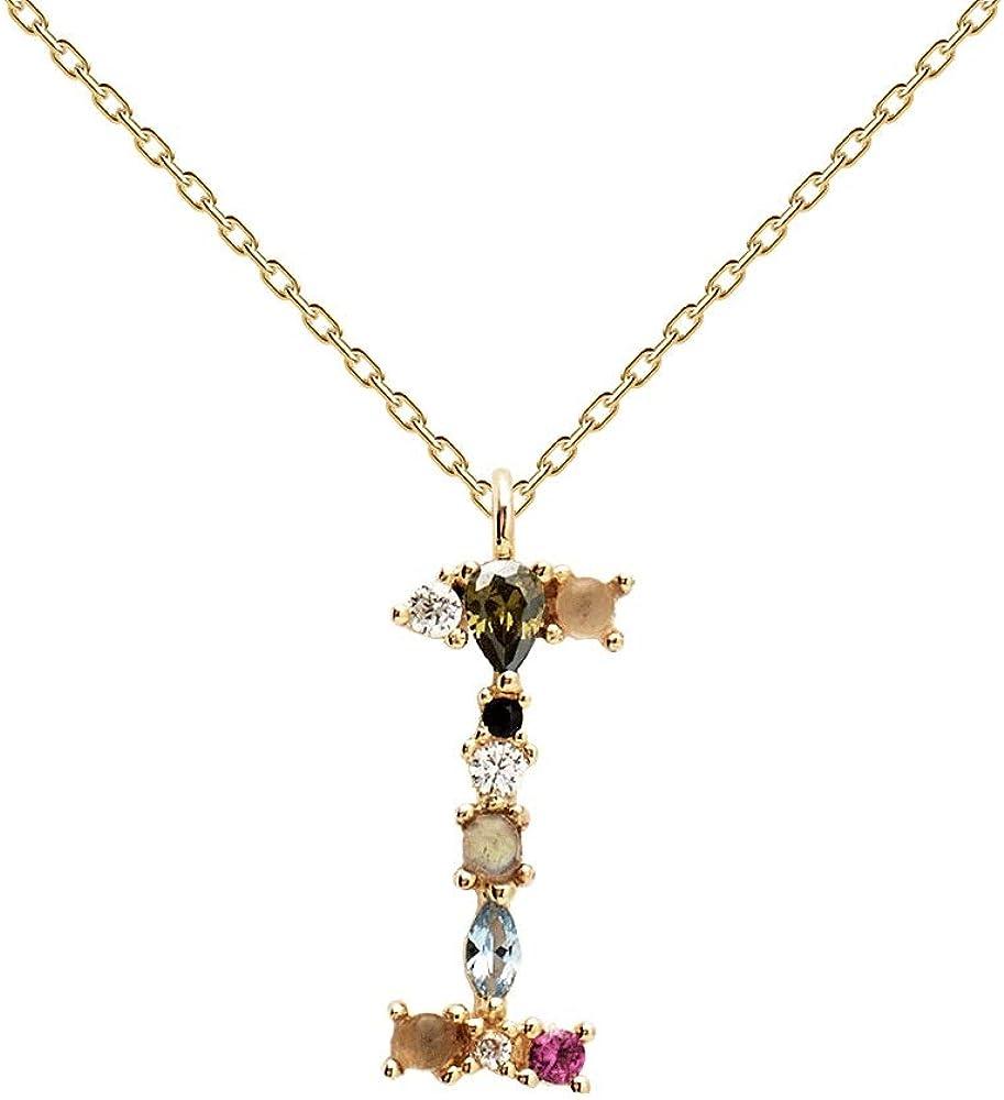 PDPAOLA - Collar Letra I - Plata de Ley 925 Bañada en Oro de 18k - Joyas para Mujer