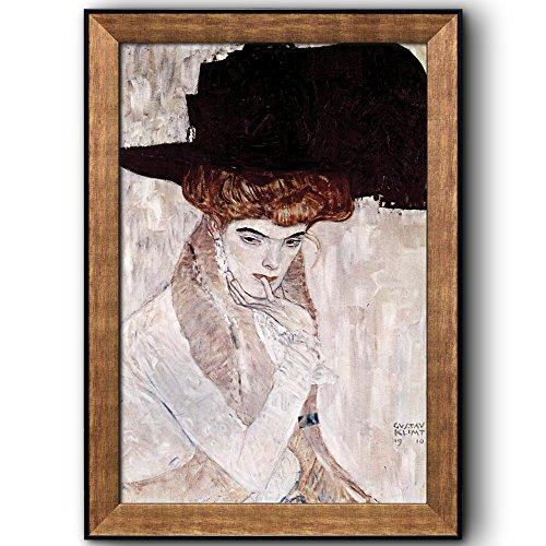 The Black Feather Hat by Gustav Klimt Framed Art