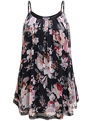 Womens Spaghetti Strap Tank Top,Wifey Summer Casual Sleeveless Blouses Cute Crew Neck Floral Printed Sexy Cool Cami Flowing Slimming Double Layering Tunics Elegant Funny Shirts Thin Petite Black M]()